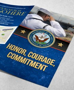 Tract - US Navy Honor Courage Commitment - saluting - Blue