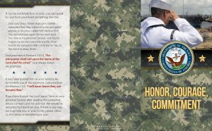 Tract - US Navy Honor Courage Commitment - saluting FLAT OUTSIDE